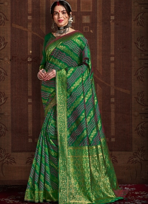 Green woven silk Bandhani saree with blouse