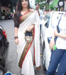 Buy White Plain Silk saree with blouse art-silk-saree online