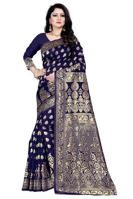 Dark blue woven silk blend saree with blouse