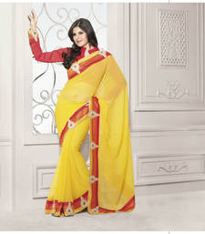 Yellow and Red Plain Georgette saree with blouse