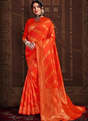 Dark Orange woven silk Bandhani sarees saree with blouse