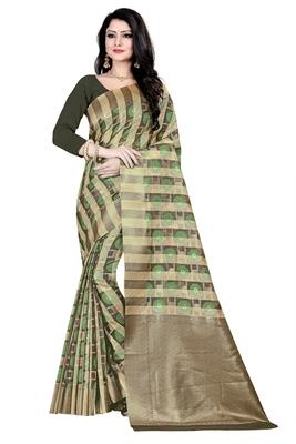 Dark antique gold woven silk blend saree with blouse