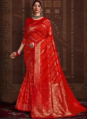 Red woven silk Bandhani sarees saree with blouse