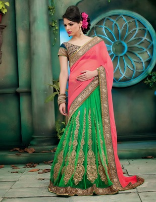 Pink and Green woven Net saree with blouse