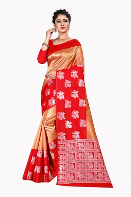 Gold woven silk blend saree with blouse