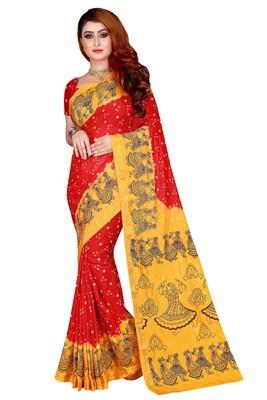 Rust hand woven taffeta saree with blouse