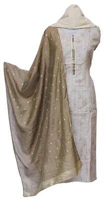 Beige & Mehendi Muslin Cotton Unstitched Suit Set