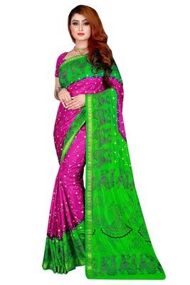 Light green hand woven taffeta saree with blouse