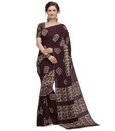 Iris Handloom Cotton Slub Zari Wex Batik Print saree