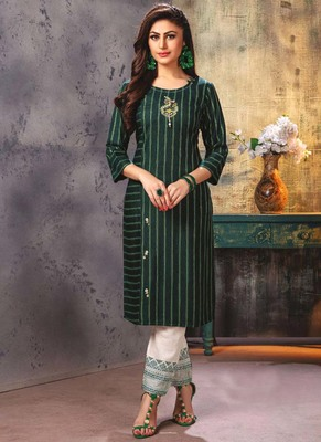 Bottle Green Embroidered Kurti with Pants