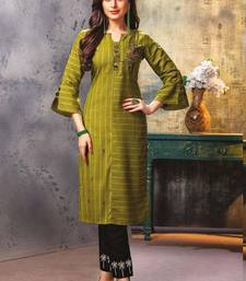 Olive Green Embroidered Kurti with Pants