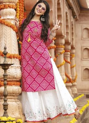 Magenta Rayon Cotton Bandhej Readymade Kurti With Sharara
