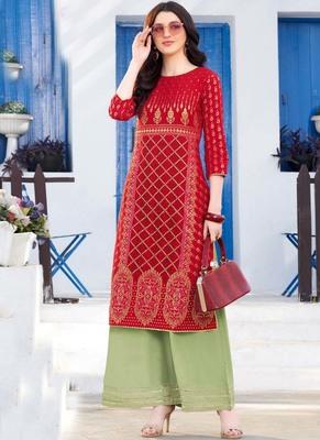 Red Rayon Designer Kurta Palazzo Set For Regular Wear