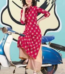 Rani Pink Rayon Designer Kurta Palazzo Set For Regular Wear
