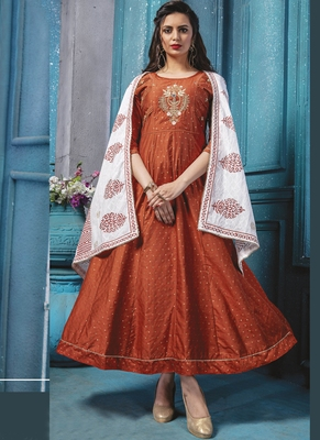 Orange Chanderi Silk Long Kurti with Cotton Printed Dupatta