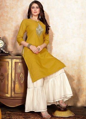 Yellow Off White Cotton Lurex Embroidery Kurti With Sharara