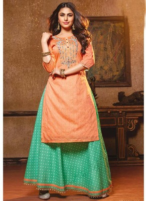 Peach Designer Party Wear Kurta Set
