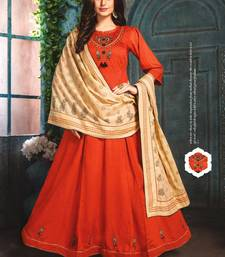 Orange Chanderi Kurti with Block print Dupatta