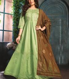Pastle Green Chanderi Kurti with Block print Dupatta