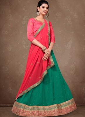 Teal Green Embroidery Silk Party wear Lehenga