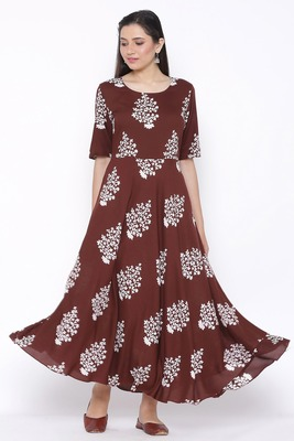 THIAB Womens Rayon Floral Print Flared Long Gown (Brown)