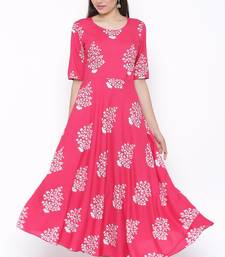 THIAB Womens Rayon Floral Print Flared Long Gown (Pink)