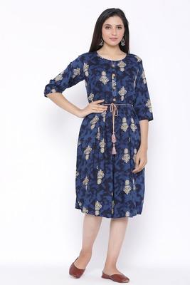 THIAB Womens Rayon Printed Flared Dress (Royal Blue)
