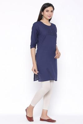 THIAB Womens Cotton Embroidered Straight Kurta (Navy Blue)