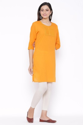 THIAB Womens Cotton Embroidered Straight Kurta (Orange)