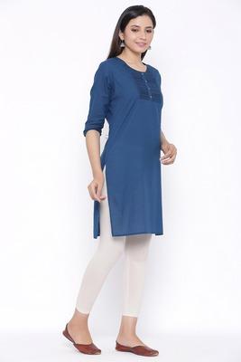THIAB Womens Cotton Embroidered Straight Kurta (Teal Blue)