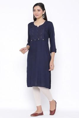 THIAB Womens Rayon Embroidered Straight Kurta (Navy Blue)