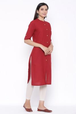 THIAB Womens Cotton Solid Straight Kurta (Maroon)
