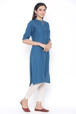 THIAB Womens Cotton Solid Straight Kurta (Teal Blue)