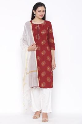 THIAB Womens Cotton Printed Straight Kurta Palazzo Dupatta Set (Maroon)