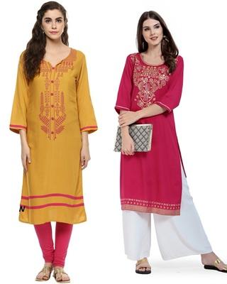 Mustard and Pink Printed Rayon Straight Kurti Combo