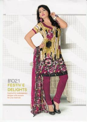 Dress Material Elegant Crepe Printed Unstitched Salwar Kameez Suit D.No 1021