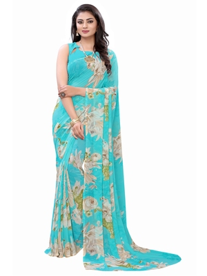 Aqua blue printed georgette saree with blouse