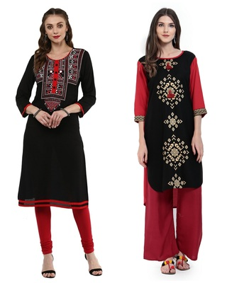 Black and Red Printed Rayon Straight Kurti Combo