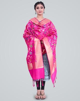 Banarasi Kataan Silk Floral Meena Jaal Dupatta