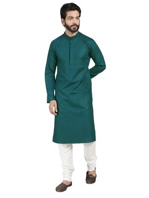 Blue plain pure cotton kurta-pajama