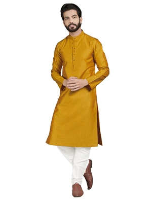 Gold plain pure cotton kurta-pajama