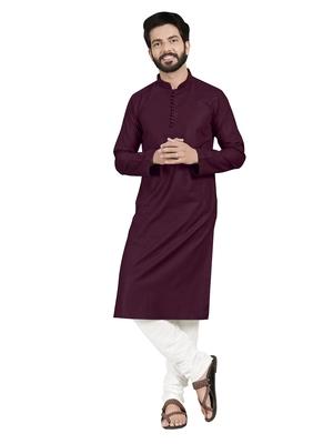 Purple plain pure cotton kurta-pajama