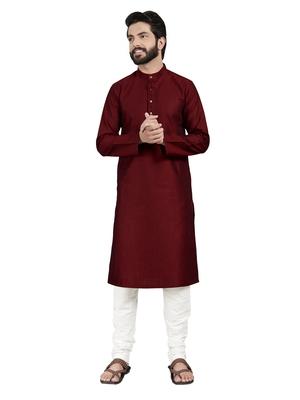 Maroon plain pure cotton kurta-pajama