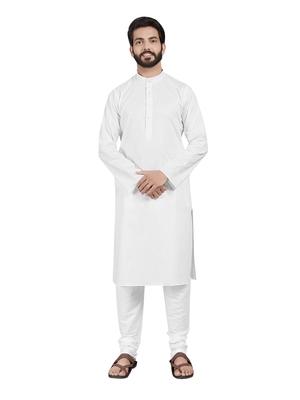 White plain pure cotton kurta-pajama