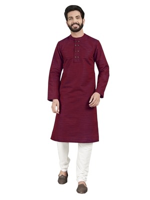 Red plain pure cotton kurta-pajama
