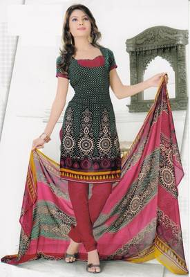 Dress Material Elegant Crepe Printed Unstitched Salwar Kameez Suit D.No 1023