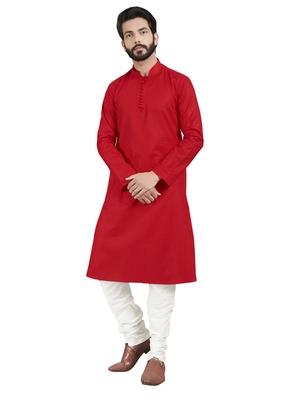 Red plain pure cotton kurta-pajama