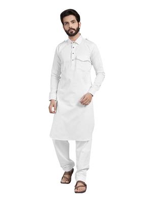 White plain pure satin kurta-pajama