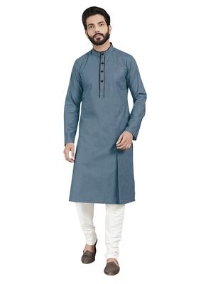 Grey plain pure cotton kurta-pajama
