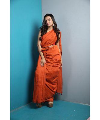 Orange Khadi Cotton Saree With Blouse